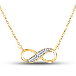 Diamond Infinity Pendant Necklace 1/6 Cttw 10kt Yellow Gold