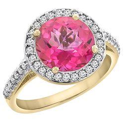 2.44 CTW Pink Topaz & Diamond Ring 10K Yellow Gold - REF-57M3A