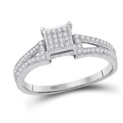 Elevated Diamond Square Cluster Bridal Wedding Engagement Ring 1/6 Cttw 10kt White Gold