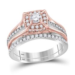 Diamond Elevated Bridal Wedding Engagement Ring Band Set 1.00 Cttw 14kt Two-tone Gold