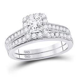 Diamond Halo Bridal Wedding Engagement Ring Band Set 1-1/4 Cttw 14kt White Gold