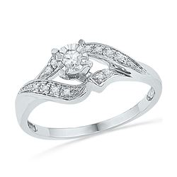 Diamond Solitaire Bridal Wedding Engagement Ring 1/6 Cttw 10kt White Gold