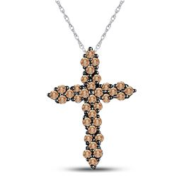Round Brown Diamond Cross Pendant 1/2 Cttw 10kt White Gold