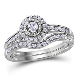 Diamond Halo Bridal Wedding Engagement Ring Band Set 1/3 Cttw 10kt White Gold
