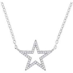 """Diamond Star Outline Pendant Necklace with 18"""" Chain 1/8 Cttw 10kt White Gold"""