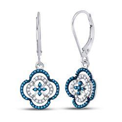 Round Blue Color Enhanced Diamond Quatrefoil Dangle Earrings 1/3 Cttw 10kt White Gold