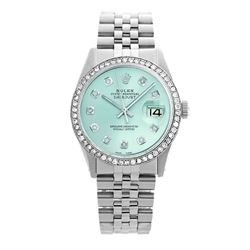 Rolex Pre-owned 36mm Mens Ice Blue Dial Stainless Steel - REF-580W4Y