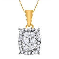 Diamond Rectangle Cluster Pendant 1/4 Cttw 14kt Yellow Gold