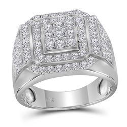 Mens Diamond Square Frame Cluster Ring 2-1/2 Cttw 10kt White Gold