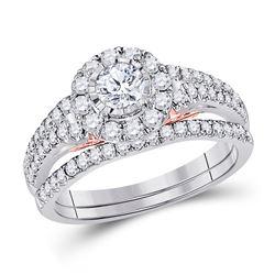 Diamond Bridal Wedding Engagement Ring Band Set 1.00 Cttw 14kt Two-tone Gold