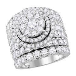 Diamond Cluster Bridal Wedding Engagement Ring Band Set 7.00 Cttw 14kt White Gold
