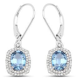 2.36 ctw Sapphire Blue & Diamond Earrings 14K White Gold - REF-74F2W