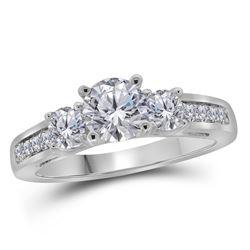 Diamond 3-stone Bridal Wedding Engagement Ring 1-1/4 Cttw 14kt White Gold