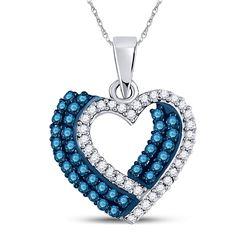 Round Blue Color Enhanced Diamond Double Heart Pendant 3/8 Cttw 10kt White Gold