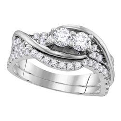Diamond 2-stone Bridal Wedding Engagement Ring Band Set 1/2 Cttw 10kt White Gold