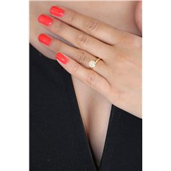 Natural 1.12 ctw Diamond SI/I Solitaire Ring 18K Yellow Gold - REF-281X8Y