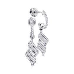 Diamond Cascade Ribbon Dangle Earrings 1/3 Cttw 10kt White Gold