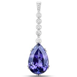 28.37 ctw Tanzanite & Diamond Pendant 18K White Gold - REF-1615N6A