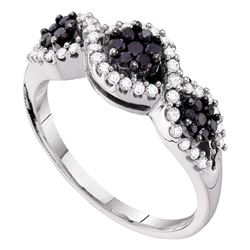 Round Black Color Enhanced Diamond Flower Cluster Band Ring 1/2 Cttw 14kt White Gold