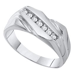 Mens Diamond Wedding Band Ring 1/8 Cttw 10kt White Gold