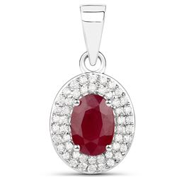 1.08 ctw Ruby & White Diamond Pendant 14K White Gold - REF-37N2A