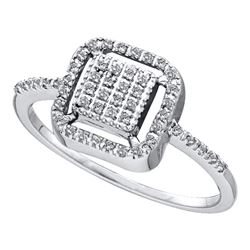 Diamond Square Frame Cluster Slender Ring 1/6 Cttw 14kt White Gold
