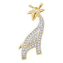 Diamond Giraffe Animal Pendant 1/10 Cttw 10kt Yellow Gold