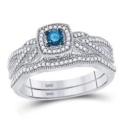 Round Blue Color Enhanced Diamond Milgrain Bridal Wedding Engagement Ring Band Set 3/8 Cttw 10kt Whi