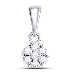 Diamond Flower Cluster Pendant 1/10 Cttw 14kt White Gold