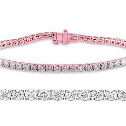 Natural 3.01ct VS-SI Diamond Tennis Bracelet 14K Rose Gold - REF-210R6W