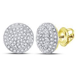 Mens Diamond Circle Cluster Earrings 5/8 Cttw 10kt Yellow Gold