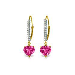 Genuine 3.55 ctw Pink Topaz & Diamond Earrings 14KT Yellow Gold - REF-63R3P