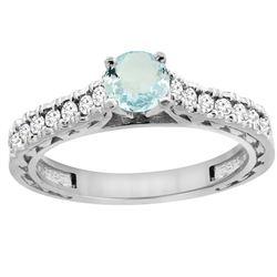 0.72 CTW Aquamarine & Diamond Ring 14K White Gold - REF-63X5M