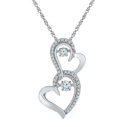 Diamond Moving Twinkle Solitaire Double Heart Pendant 1/4 Cttw 10kt White Gold