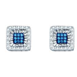 Round Blue Color Enhanced Diamond Square Stud Earrings 1/2 Cttw 10kt White Gold