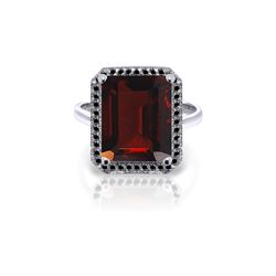 Genuine 7.7 ctw Garnet & Black Diamond Ring 14KT White Gold - REF-87Y7F