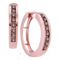 Round Brown Diamond Hoop Earrings 1/2 Cttw 10kt Rose Gold