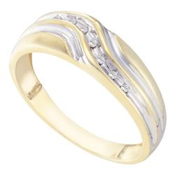 Mens Diamond Single Row Two-tone Wedding Band Ring 1/20 Cttw 10kt Yellow Gold
