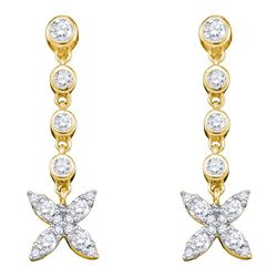 Diamond Flower Cluster Dangle Earrings 3/4 Cttw 10kt Yellow Gold