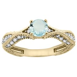 0.67 CTW Aquamarine & Diamond Ring 14K Yellow Gold - REF-68F9N