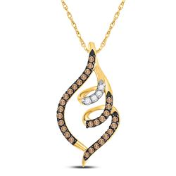Round Brown Diamond Curled Pigtail Pendant 1/3 Cttw 10kt Yellow Gold