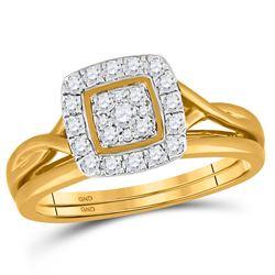 Diamond Bridal Wedding Engagement Ring Band Set 1/3 Cttw 10kt Yellow Gold