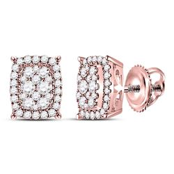 Diamond Rectangular Cluster Earrings 1/2 Cttw 14kt Rose Gold