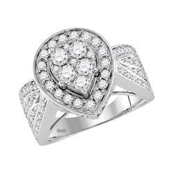 Diamond Teardrop Cluster Bridal Wedding Engagement Ring 1-1/2 Cttw 14kt White Gold