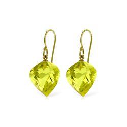 Genuine 21.5 ctw Quartz Lemon Earrings 14KT Yellow Gold - REF-33X7M