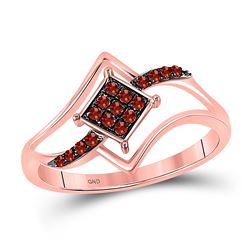 Round Red Color Enhanced Diamond Diagonal Square Cluster Ring 1/6 Cttw 10kt Rose Gold