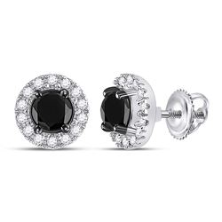 Round Black Color Enhanced Diamond Solitaire Circle Frame Earrings 1.00 Cttw 10kt White Gold