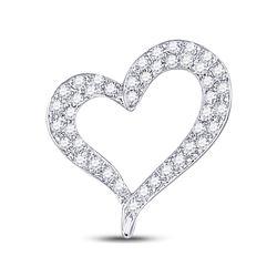 Round Pave-set Diamond Heart Outline Pendant 1/3 Cttw 14kt White Gold