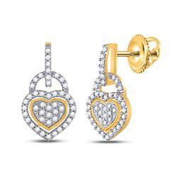 Diamond Heart Dangle Earrings 1/3 Cttw 10kt Yellow Gold