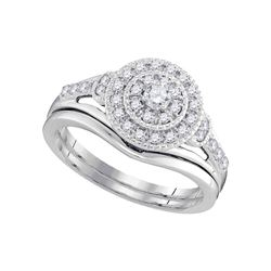 Diamond Round Bridal Wedding Engagement Ring Band Set 1/3 Cttw 10kt White Gold